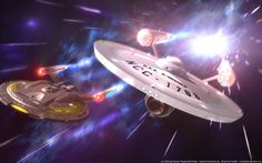 ISS Falcon & USS Kingsmen at warp. Commission work for Rendered in Max 10 Background painted in Paint Shop Pro 7 Light Effects . Full Speed ahead - Mirror NX and Constitution Star Trek Warp, Star Trek Tos, Star Wars, Enterprise Ncc 1701, Star Trek Enterprise, Wallpaper Science, Hd Wallpaper, Science Fiction, Star Trek Images