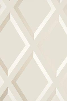 Pompeian Trellis Wallpaper Geometric Taupe and White diamond trellis effect wallpaper with metallic gilver embellishment.