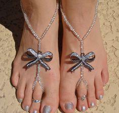 Joyería de plata arco sandalias descalzo esclava por HouseOfBlaise