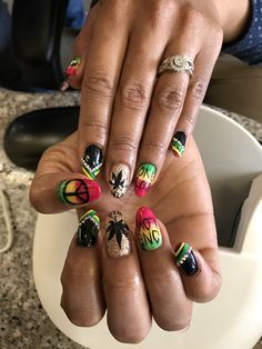 420 Nail art , acrylics, shellac , red yellow green Rasta nails , peace sign , marijauna plant , diamonds & rhinestones ❤️