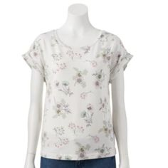 LC Lauren Conrad Floral French Terry Top - Women's