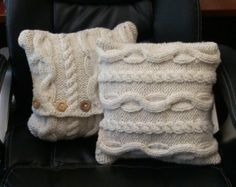 Chunky Celtic Inspired Cream Color Cable Knit Pillows; 12 inches x 12 inches