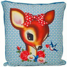 LouLeChien - wu and wu - prachtig retro kussen bambi Bambi, Patch Quilt, Vintage Cards, Vintage Images, Kitsch, Ideas Habitaciones, Deer Pillow, Oh Deer, Baby Kind