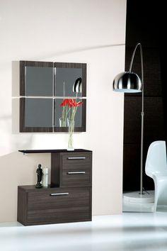 Meuble d'entrée avec miroir contemporain MAGRITTE, coloris cèdre gris