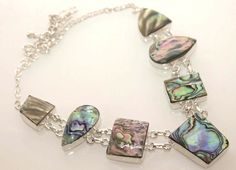 LOVELY HIGH CLASSIC ABALONE SHELL NEW TRENDY STERLING SILVER JEWELRY NECKLACE 41 #925silverpalace #Charm