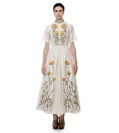 Off White Cotton Silk Embroidered Front Open Gown