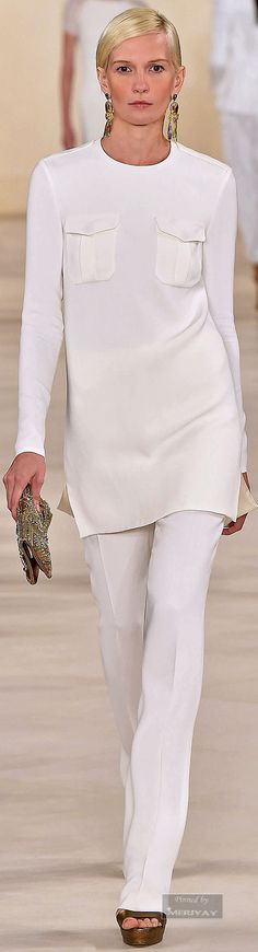 Ralph Lauren.Spring 2015 White on white! So sporty and classic!