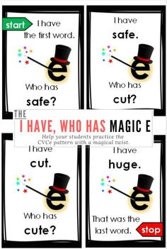 I have, Who Has? Magic E Phonics Game: Help your students practice the CVCe pattern with a magical twist. Magic E (sometimes known as Silent E) is a great way to help students learn the phonics rule for long vowel sounds.