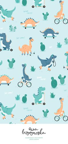 Dino-mite - cute textile pattern design with dinosaurs. Textile design children illustration dino dinosaur skate kids pattern pattern design dino skate textile pattern design for kids. Textile Pattern Design, Surface Pattern Design, Textile Patterns, Dinosaur Pattern, Cute Dinosaur, Dinosaur Design, Nursery Patterns, Kids Patterns, Baby Illustration