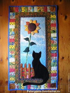 Patchwork panels with Cat Sunflower - patchwork - Home MomsSunflower and Black Cat Quilt Small Quilt Projects, Quilting Projects, Quilting Designs, Small Quilts, Mini Quilts, Cat Quilt Patterns, Sunflower Quilts, Animal Quilts, Quilted Wall Hangings