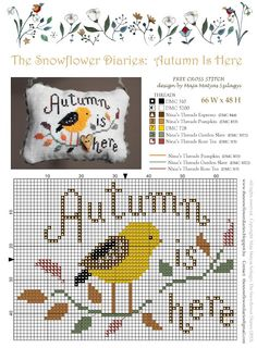 Free Cross Stitch Chart - Autumn is Here - The Snowflower Diaries Fall Cross Stitch, Cross Stitch Finishing, Cross Stitch Samplers, Cross Stitch Animals, Cross Stitching, Cross Stitch Embroidery, Embroidery Patterns, Free Cross Stitch Charts, Cross Stitch Freebies
