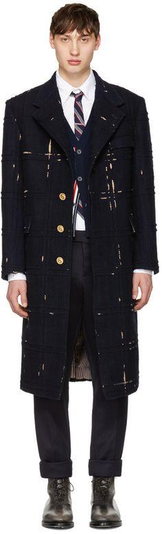 5760€ Thom Browne - Chesterfield à épaules amples bleu marine Tartan