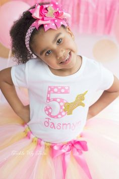 Pink and Gold Unicorn Birthday Tutu Outfit...www.ticklemytutu.com