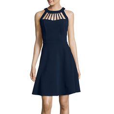 Fifth & Park Sleeveless Cage Halter Fit-and-Flare Dress - JCPenney