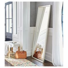 """PURCHASED - Leaner Mirror with Silver Edge 27""""x68"""" - Threshold"""
