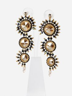 Seahorse CHANDELIER EARRINGS with Swarovski Crystals,Black Cognac Statement earrings for special events, evening jewelry - 4723. $315.00, via Etsy.