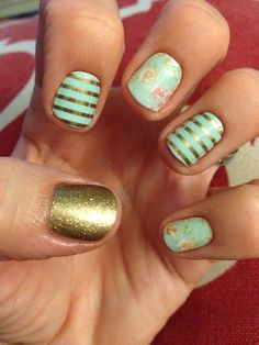 One of my favorite and most popular jamicures I did-Mint gold stripe, gold sparkle, and vintage chic www.apriltorres.jamberrynails.net