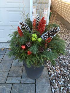 Christmas Flowers, Christmas Wreaths, Christmas Decorations, Xmas, Holiday Decor, Outdoor Christmas, Ikebana, Urn, Floral