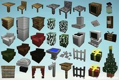 The MrCrayfish's Furniture Mod for Minecraft offers more than forty unique types of furniture for a player to furnish their home with, many of which having a function as well. Minecraft Pe, Skins Minecraft, Minecraft Blueprints, Cool Minecraft Houses, Minecraft Designs, Minecraft Creations, Minecraft Projects, Minecraft Crafts, Minecraft Furniture