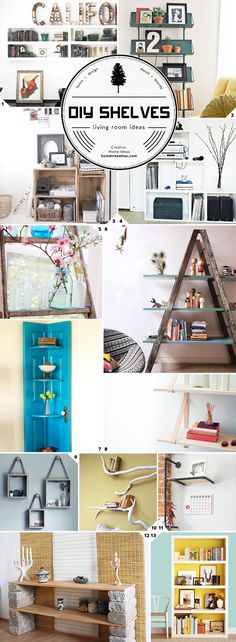 Creative DIY Ideas for Living Room Shelves - I like the one toward the bottom with the landscaping blocks