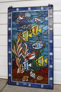 "Tropical Fish Under The Sea Tiffany Style Stained Glass Window Panel 20"" x 34"" 