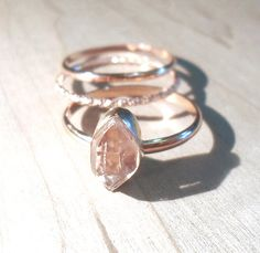 Herkimer Diamond Ring Rose Gold Statement Ring by AWildViolet