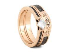 Princess Cut Moissanite Bridal Ring Set, 14k Rose Gold Rings, Deer Antler Engagement Ring With Knot Wedding Ring