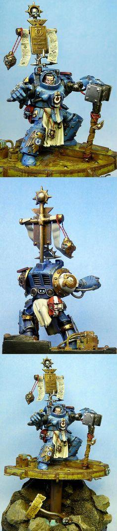 Warhammer 40k Space Marines Ultramarines Captain - serious Kit-Bash, amazing paint job and posing!