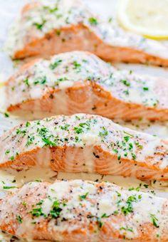 Oven Baked Salmon With Lemon Cream Sauce.