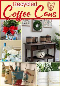 Recycled coffee cans can be decorated and used for many things such as storing craft supplies, planters, silverware containers, or use them in the bathroom. Coffee Can Crafts, Tin Can Crafts, Diy Crafts, Coffee Can Diy Projects, Recycled Decor, Recycled Tires, Recycled Furniture, Handmade Furniture, Coffee Tin