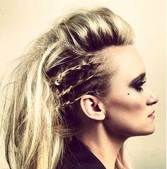 Rocker hair,concert hair, smokey eyes, braids and volume :) hair by Samm Scott makeup by Alisson Leberman Concert Hairstyles, Up Hairstyles, Braided Hairstyles, Wedding Hairstyles, Pinterest Hairstyles, Punk Rock Hairstyles, Faux Hawk Hairstyles, Rocker Hair, 80s Hair
