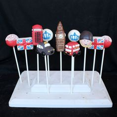 12 Cake Pops for London England British party by SweetWhimsyShop