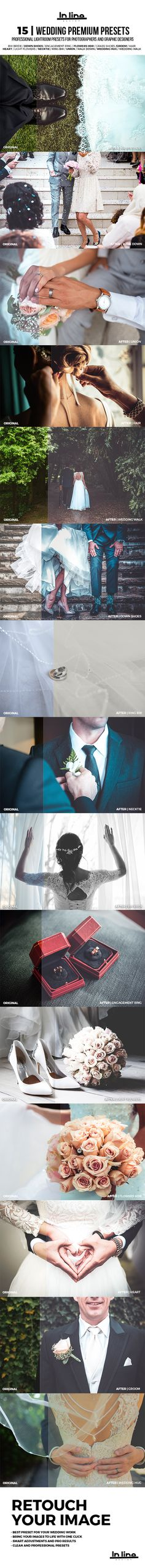Buy 15 Premium Wedding Lightroom Presets by Rtvrecord on GraphicRiver. 15 Premium Wedding Lightroom Presets is a In line design powerful Collection of professional Lightroom Presets which . Lightroom Presets Wedding, Professional Lightroom Presets, Lightroom 4, Graphic Design Fonts, Graphic Design Pattern, Creative Icon, Creative Products, Certificate Templates, Corporate Flyer