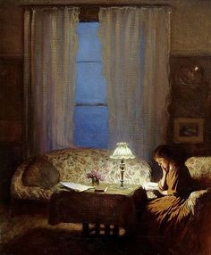 books0977: Twilight: Interior (Reading by lamplight), c.1909. George Clausen (English, 1852–1944). Oil on canvas. Leeds Museums and Galleries, City Art Gallery. Twilight: Interior depicts the artist's sitting room at St John's Wood, London, looking out through the tall windows into the garden. Clausen's format is dictated by the shape of the window and reflects his concern with extremes of light and shade.