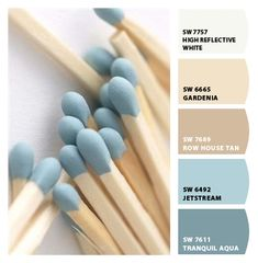 Colour scheme palette with shades of blue and cream. 5 colour combination.