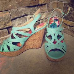 Wedges Turquoise wedges.  Worn twice for photo shoot X appeal  Shoes Wedges