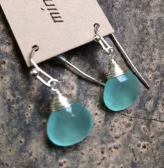 Min Favorit Aqua Seafoam Chalcedony Teardrop & Silver Wrap Artisan Earrings WOW$ #minfavorit #Wrap $9.85