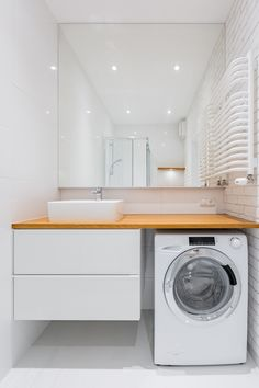 Picture of White bathroom with countertop basin, mirror and washer stock photo, images and stock photography. Bathroom Design Luxury, Bathroom Design Small, Laundry Room Bathroom, White Bathroom, Bad Inspiration, Bathroom Inspiration, Apartment Interior, Apartment Design, Washbasin Design