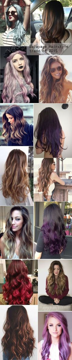 Balayage & ombre Hairstyles of different kinds, giving you more hair ideas of 2015 summer. Long brown hair with blonde highlights / caramel / honey / chocolate / hair color / Ombre / balayage / dark hair with highlights / haircolor / summer hairstyles / beach waves / sun kissed / surfer hair / summer waves / loose curls / long layers: