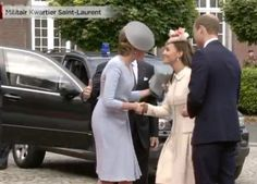 The Duchess of Cambridge greets Belgian royalty with kisses & curtsies