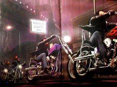 DAVID MANN EASYRIDERS HARBOR LTS CLASSIC MOTORCYCLE ART