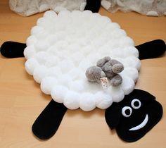 Alfombra blanca para vivero ovejas alfombra Pom Pom