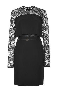 Stretch Cady And Lace Short Dress by Elie Saab for Preorder on Moda Operandi