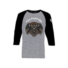 Personalized Foo Figthers Owl 3/4 Sleeve Tee <3