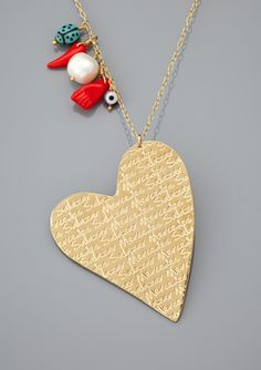 MERCEDES SALAZAR Long Heart Charm Necklace