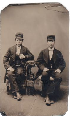 Vintage Photo Dudes in Hats Tintype cabinet card by photopicker, $22.00