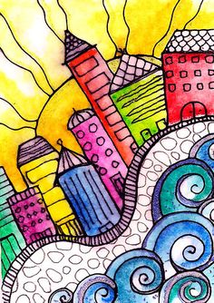 Whimsical watercolor cityscape ACEO