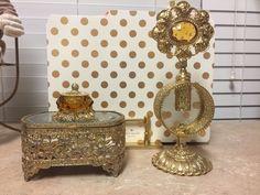 Victorian ORMOLU GUILD CREST Facet Amber Glass Gold Filigree Perfume Bottle SET