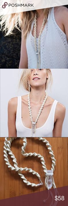 Free People leather wrapped quartz stone necklace Free People Crystal Mountain Statement Necklace, Made of Genuine Braided Suede and Quartz Crystal, Color: Ivory with Silver Metal Accents on fringe, Length: 40 Inches, New! One with tag and one without tag Free People Jewelry Necklaces