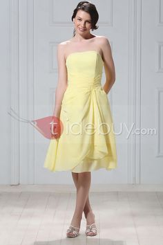 Fancy Draped A-line Knee-length Strapless Ruched Luba's Bridesmaid Dress